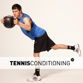 Alternating Single Leg Med Ball Trunk Rotations