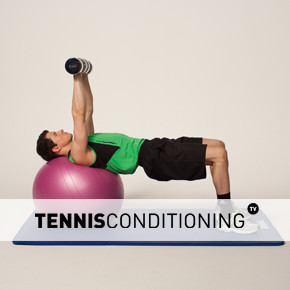 Physio Ball Supine Dumbbell Press