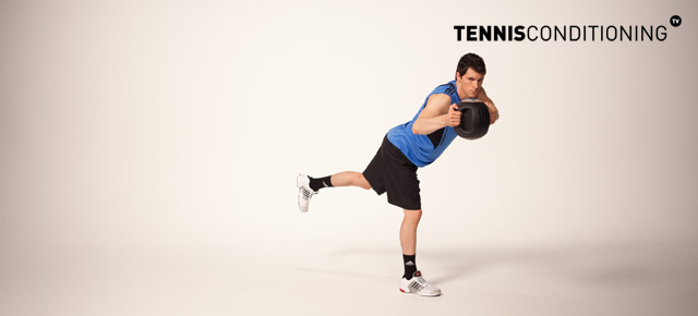 Alternating Single Leg Medicine Ball Trunk Rotation