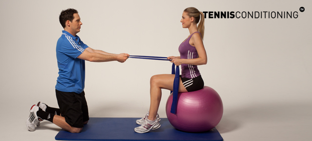 Assisted Seated Physio Ball Hip Flexion to Extension