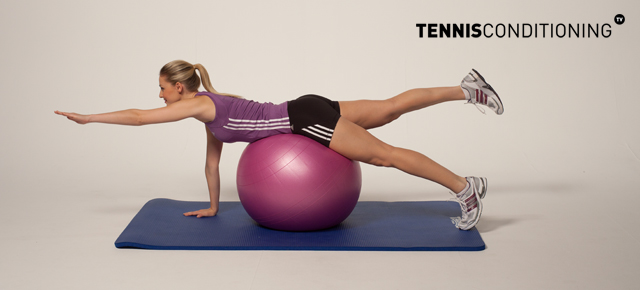 4 Point Prone Physio Ball Contra Lateral Limb Raises
